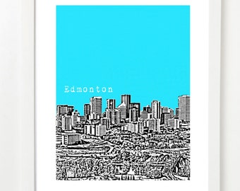 Edmonton Skyline Poster  - Edmonton City Skyline Art Print - Edmonton Alberta Art