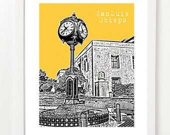 San Luis Obispo - San Luis Skyline Print - California City Art - VERSION 1