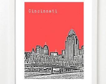 Cincinnati Art Print - Cincinnati Skyline Poster - Cincinnati Ohio City Art -  VERSION 1