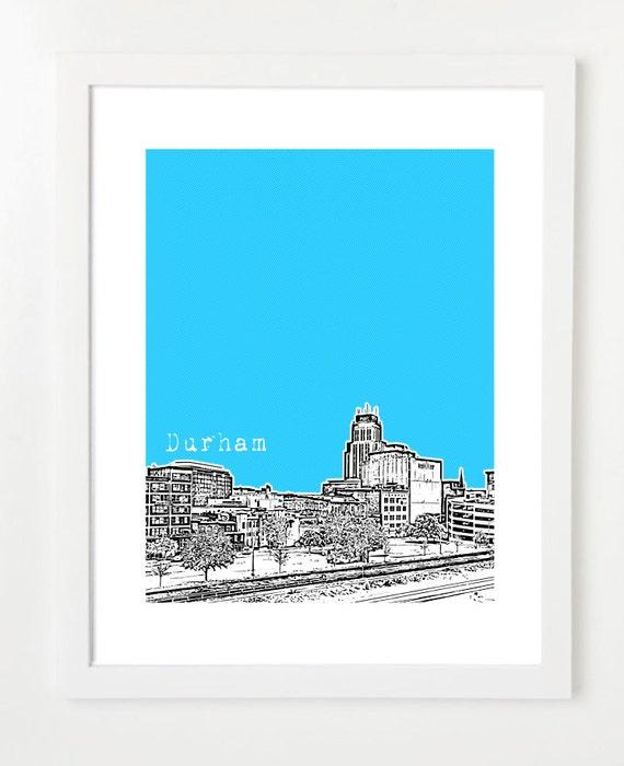 Durham North Carolina Skyline Poster Durham City Art Print Etsy