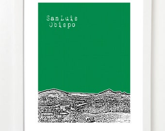San Luis Obispo Skyline Poster - SLO Art Print - California State Art - VERSION 2