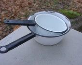 White enamel sauce pans vintage