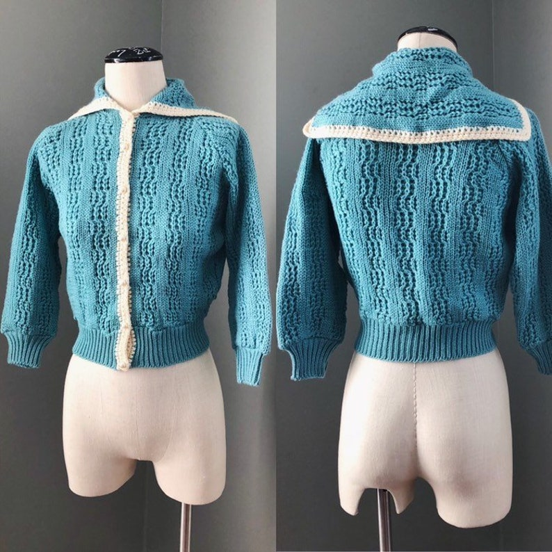 8500a2093e261 Vintage Wool 1950s Sailor Inspired Knit Sweater Cardigan