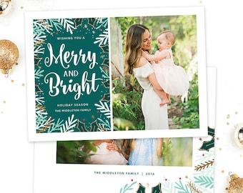 Christmas Card Template for Photographers, Christmas Photo Card Template for Photoshop, Holiday Card Templates, Photography Templates HC301