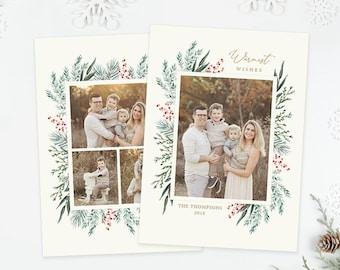 Christmas Photo Card, Christmas Card Template, Christmas Photography Template, Christmas Card Printable, Holiday Photo Cards HC335