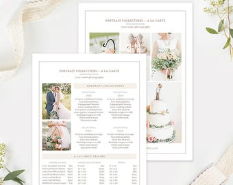 5x7 Wedding Photography Pricing Template, Photography Price List Template, Photographer Pricing Template, Photography Pricing Guide Organic