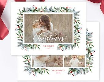 Christmas Photo Card, Christmas Card Template, Christmas Photography Template, Christmas Card Printable, Holiday Photo Cards HC319