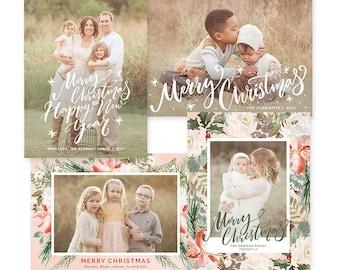 Christmas Card Templates for Photographers, Christmas Photo Cards, Christmas Cards With Photo, Christmas Photo Card Template HC32124
