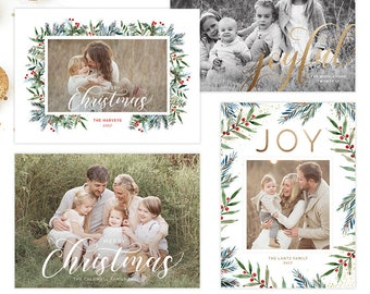Christmas Photo Card, Christmas Card Template, Christmas Photography Template, Christmas Card Printable, Holiday Photo Cards HC31720