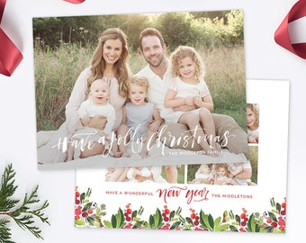 Christmas Photo Card, Christmas Card Template, Christmas Photography Template, Christmas Card Printable, Holiday Photo Cards HC310