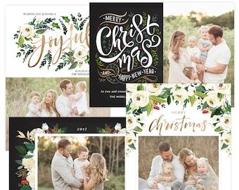 Christmas Photo Cards, Christmas Card Templates, Christmas Photography Templates, Christmas Card Printable, Holiday Photo Cards HC31316