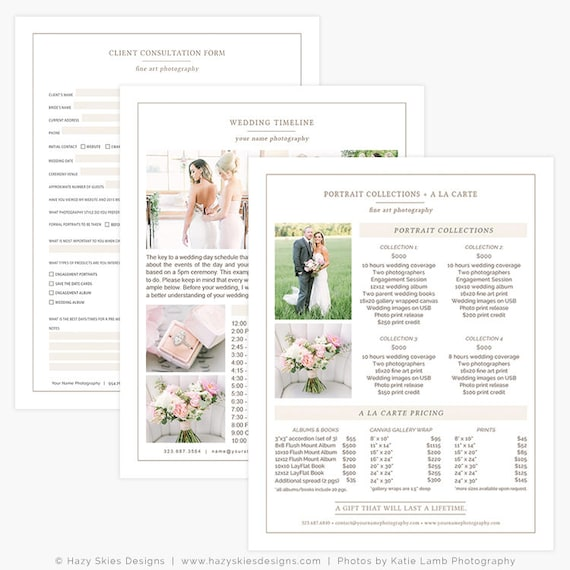 Wedding Welcome Packet Photography Marketing Pricing Template Guide Set Kit Organic