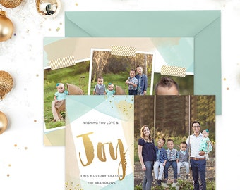 Christmas Card Template for Photographers, Christmas Card Template for Photoshop, Holiday Card Templates, Modern Gold Blue Watercolor HC277