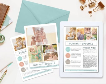 Photography Studio Newsletter Template, Photography Marketing Templates - Portrait Specials NWS107