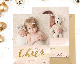 Christmas Card Template for Photographers, Christmas Card Template for Photoshop, Holiday Card Templates, Photography Templates HC276
