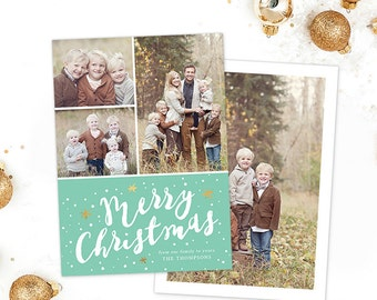 Christmas Card Template for Photoshop, Christmas Card Template for Photographers, Holiday Card Templates, Gold Mint Calligraphy HC282