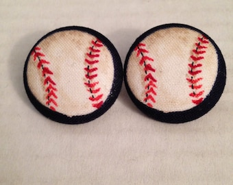 Large Handmade Baseball Button Earrings, Great Gift Idea! (Extra Large)
