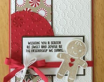 Stampin Up handmade Christmas card - Ginger bread man sweet season