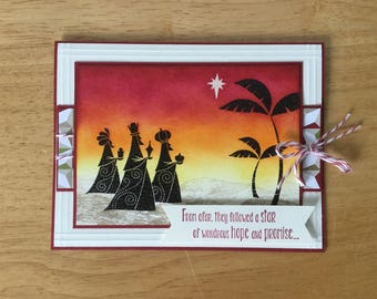 Stampin Up handmade Christmas card - wise men from afar in sunset