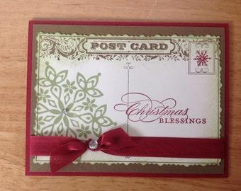 Stampin Up handgefertigte Christmas Karte - Postkarte mit Schneeflocke