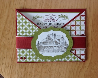 Stampin Up handmade Christmas card - criss cross winter lodge cottage