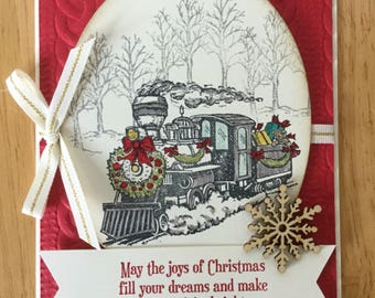 Stampin Up handmade Christmas card - Christmas train in winter snow