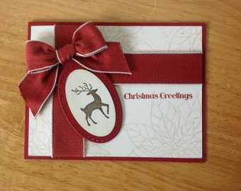 Stampin Up handmade Christmas card -present with reindeer