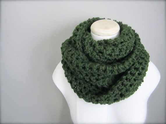 Dark Green Scarf Crocheted Scarf Hunter Green Scarf Christmas Green Scarf
