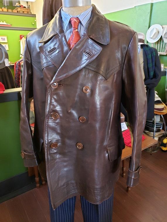 1940s European leather coat, large size