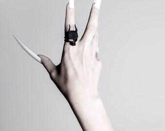 Lilith Skull Ring  in Black