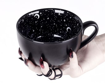 Midnight Coffee Large Mug in Gift Box Cute Mugs for Women Unique Witch Gifts Novelty Tea Cup Goth Decor - 17.6oz 500ml by Rogue + Wolf