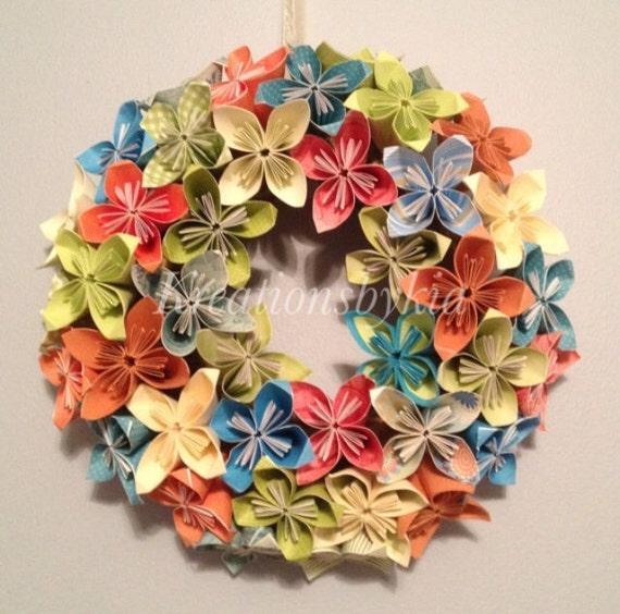 Summer blend origamikusudama paper flower wreath flower etsy image 0 mightylinksfo