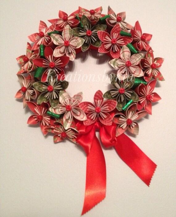 Origami Paper Flower Wreath / kusudama paper flower wreath | Etsy