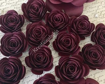 Burgundy/Wine Paper Flowers // Diy Wedding Decorations, Paper Flower Wall Backdrop, Photo Wall, Backdrop, Diy Wedding Favors/Gift Boxes