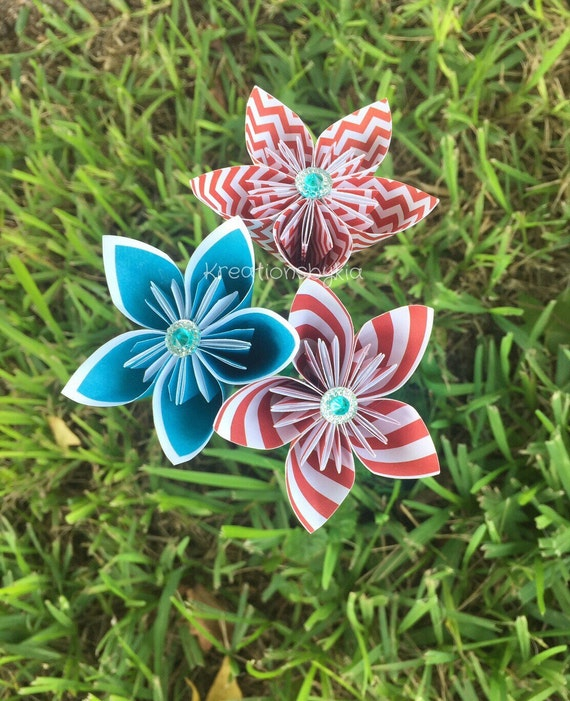 Circus circus paper flowers with stems origami etsy image 0 mightylinksfo