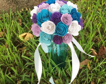 Frozen Dreams - Origami Paper Flower Bouquet// Paper Bridal Bouquet / Wedding/ Paper Rosettes/ Paper Flowers/ Centerpiece