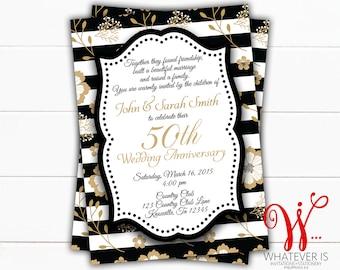 Black and Gold 50th Anniversary Invitation | Gold Anniversary | 50th Anniversary Invitations | Printed Anniversary Invitation | Anniversary