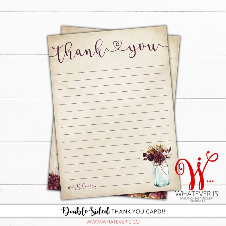 4X6 Fall Floral Thank You Card  Rustic Fall Themed Thank You image 0