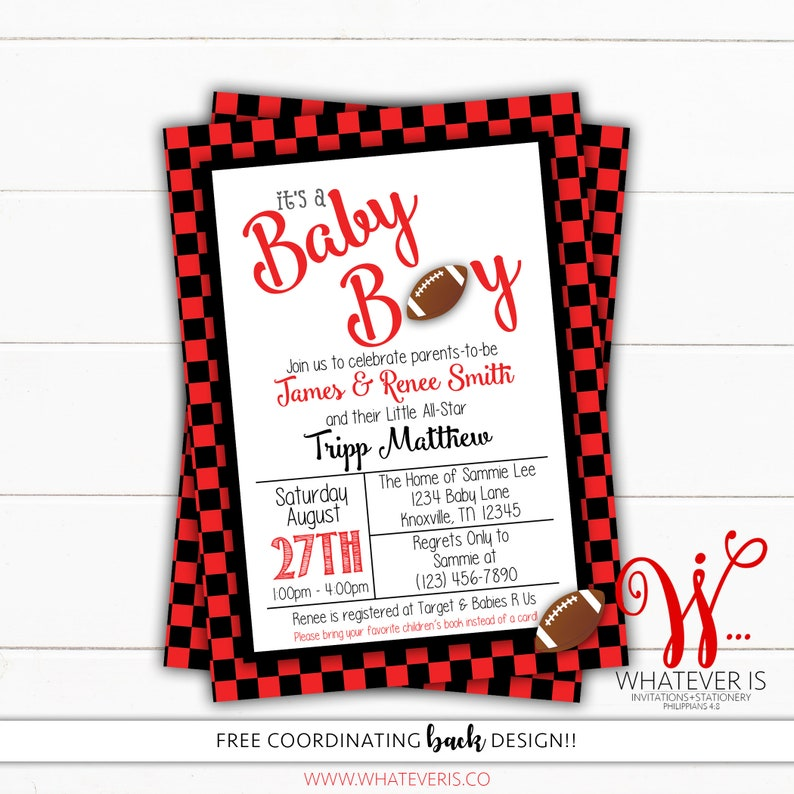 Football Baby Shower Invitation  Sport Baby Shower  College image 0