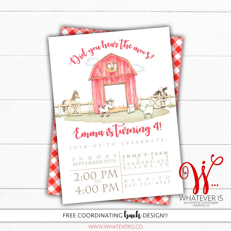 Farm Birthday Invitation  Watercolor Farm  Farm Animal image 0