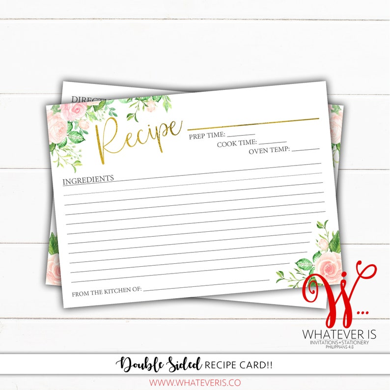 5x7 Pink & Green Floral Recipe Card  Floral Recipe Card  image 0