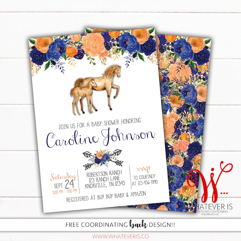 Orange and Blue Floral Horse Baby Shower Printable Invitation image 0