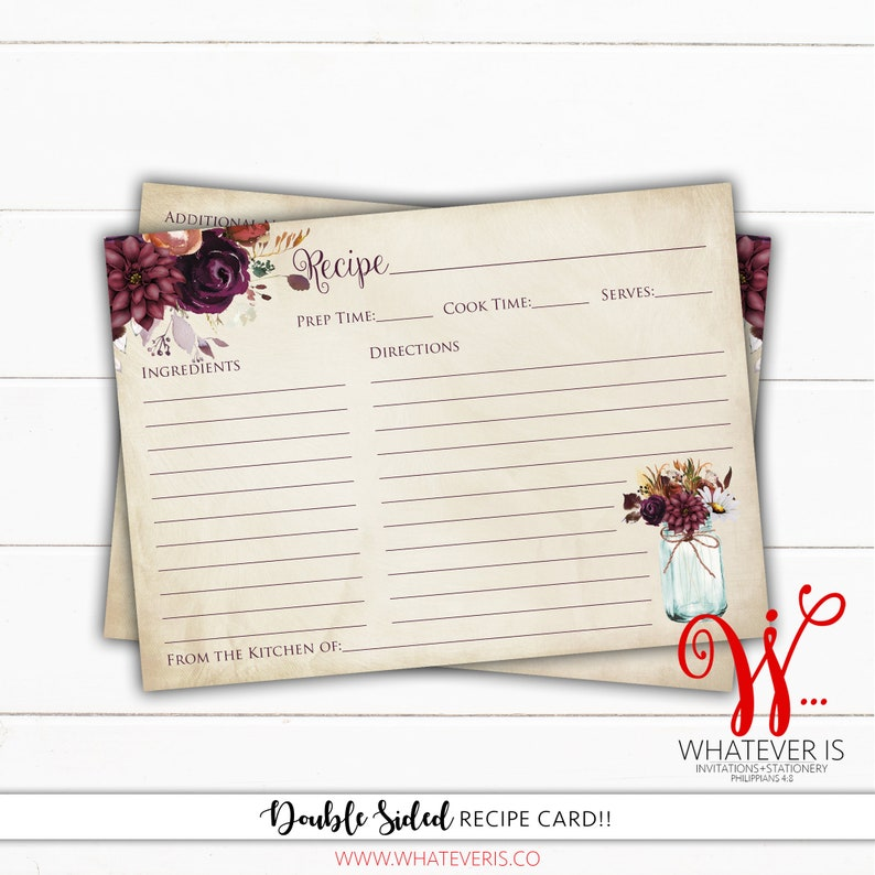 5x7 Fall In Love Recipe Card  Rustic Fall Floral Recipe Card image 0