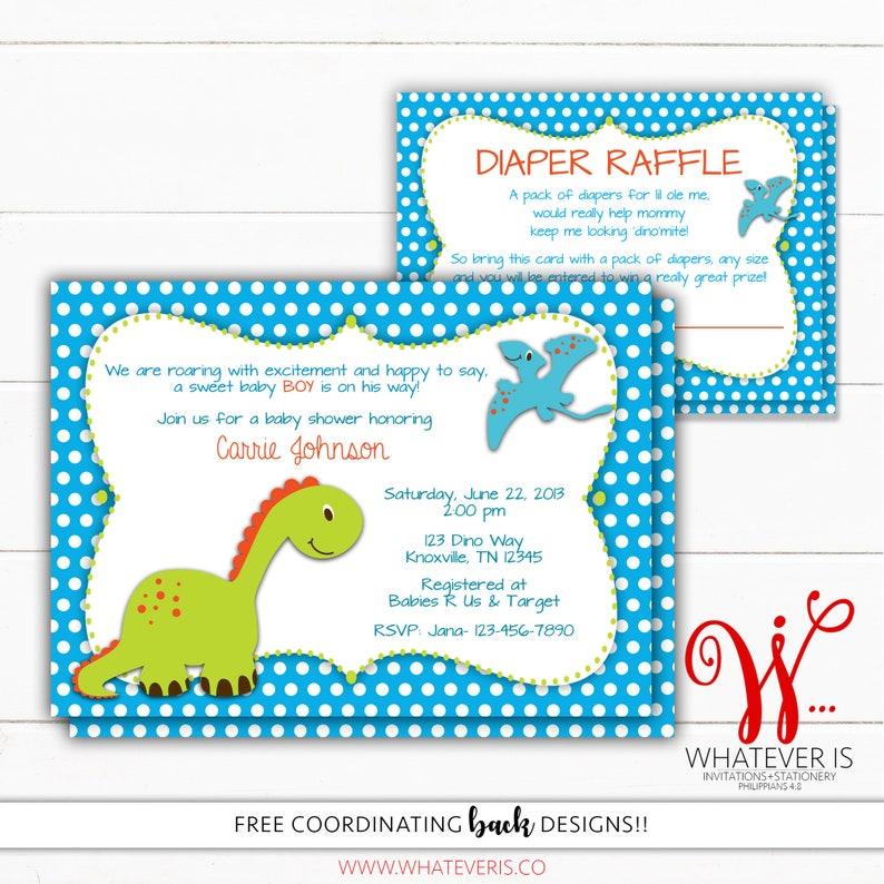 Dinosaur Baby Shower Invitation With Diaper Raffle