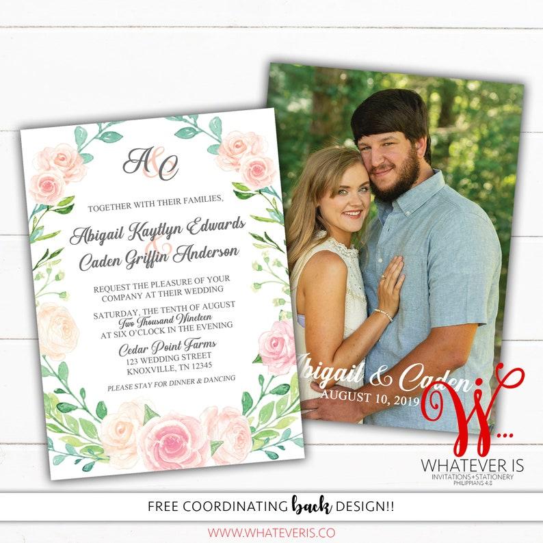Blush Watercolor Floral Wedding Invitation  Pink Floral image 0
