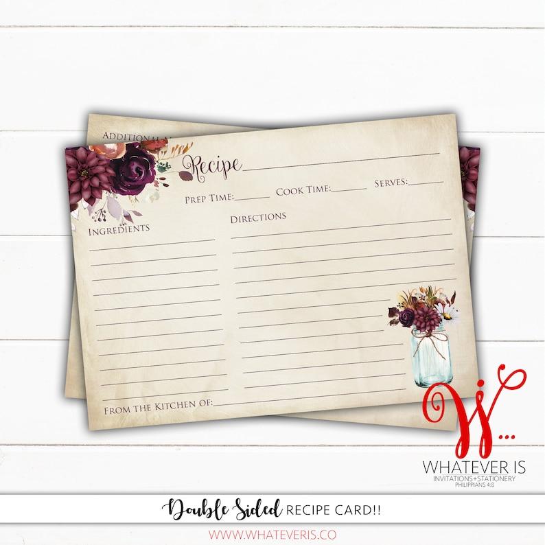 PRINTED Fall In Love Recipe Card  Rustic Fall Floral Recipe image 0
