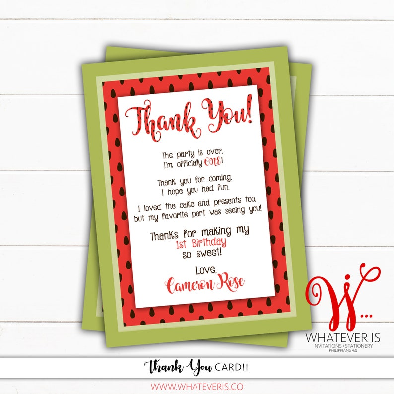 Watermelon Picnic Birthday Printable Thank You Card  Picnic image 0