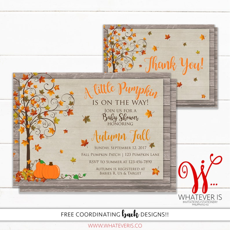 Fall Baby Shower Invitation  Little Pumpkin Baby Shower  image 0