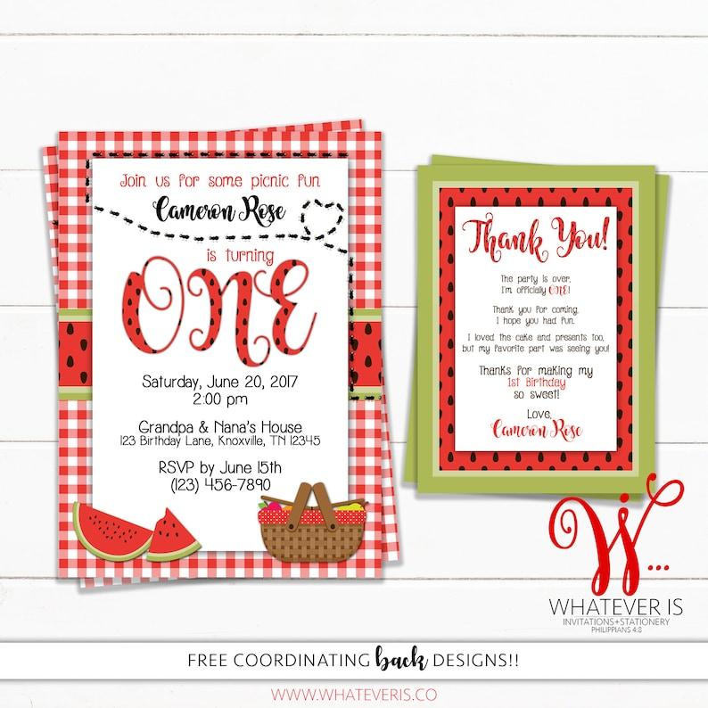 Watermelon Picnic Birthday Printable Invitation  Picnic image 0