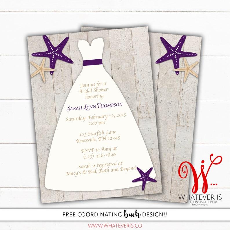 Purple Starfish Wedding Dress Bridal Shower Invitation  Beach image 0